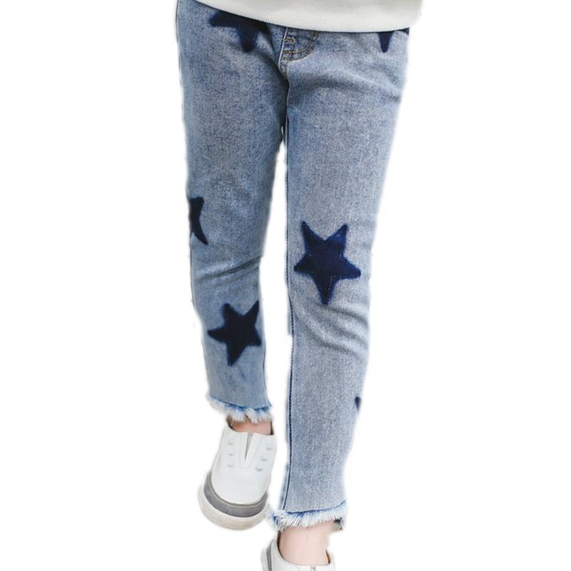 2018 Children Clothing Spring Kid Pant Big Girls Denim Pants Children Jean Pants Leggings Star Printed Girl Trousers Pencil Pant