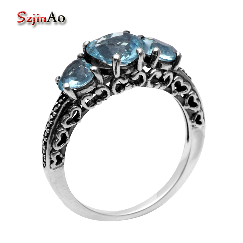 Szjinao Processing Custom 925 Sterling Silver Jewelry Antique Jewelry Replica Aquamarine Rings for Women Vintage Style