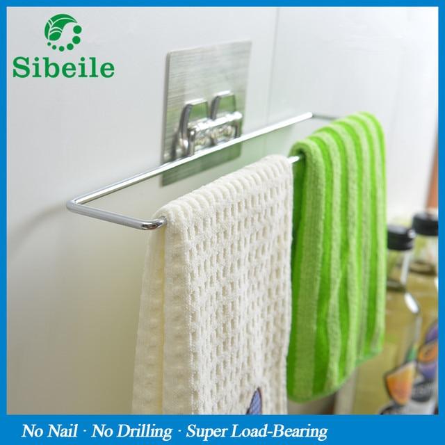 SBLE Stainless Steel Door Hanging Towel Rack Holder Cloth Shelf Bathroom  Kitchen Accessories Towel Bars Hanger
