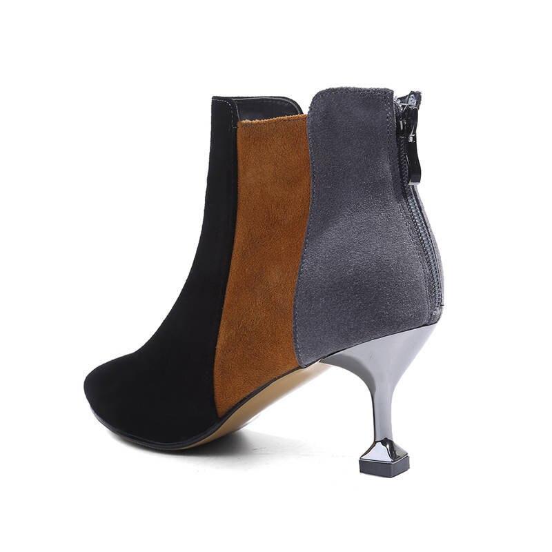 Pour Pointu Cheville apricot Bout Haute Grande Suédé gris 33 Femmes Chaussures Noir Couleurs Morazora Bottes Taille Mélangées En 40 Cuir Automne 2018 Talons Zipper 4zwnxqgZa