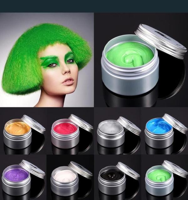 120g Unisex Hair Color Wax Mud Hair Dye Molding Hair Styling Coloring Paste Grandma Grey Green Hair Dye Wax Ceam Harajuku Style 3