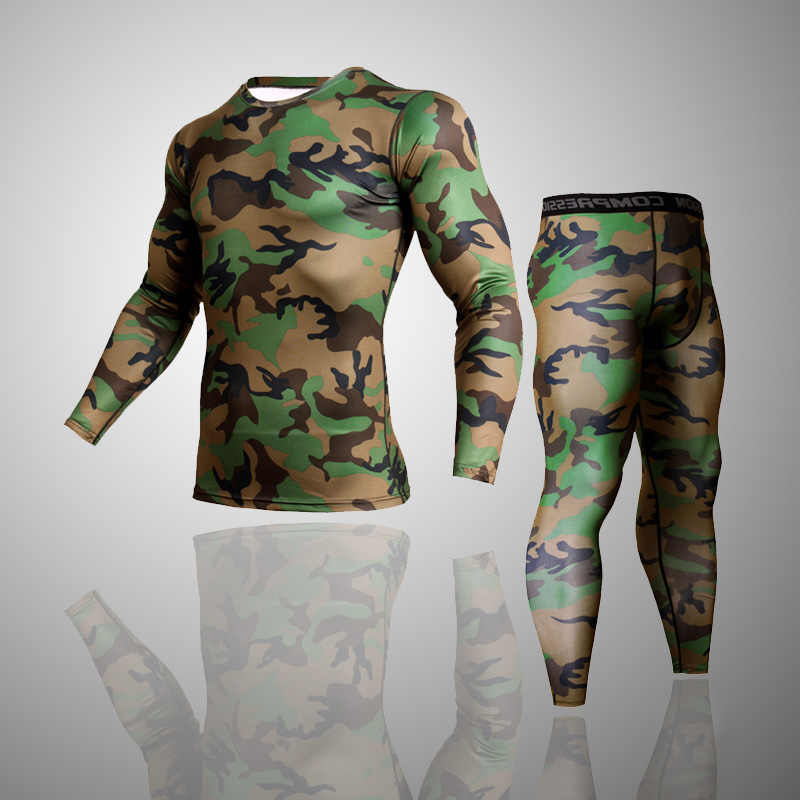 Mannen Merk Kleding Leger camouflage Thermische Ondergoed Trainingspak set Crossfit Fitness Shirt Heren Leggings 2 stuk Rashgarda MMA