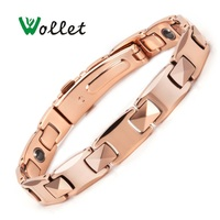 Wollet Jewelry 99.999% Germanium Health Care Healing Energy Tungsten Bracelet Bangle For Women Men Rose Gold Color Hematite