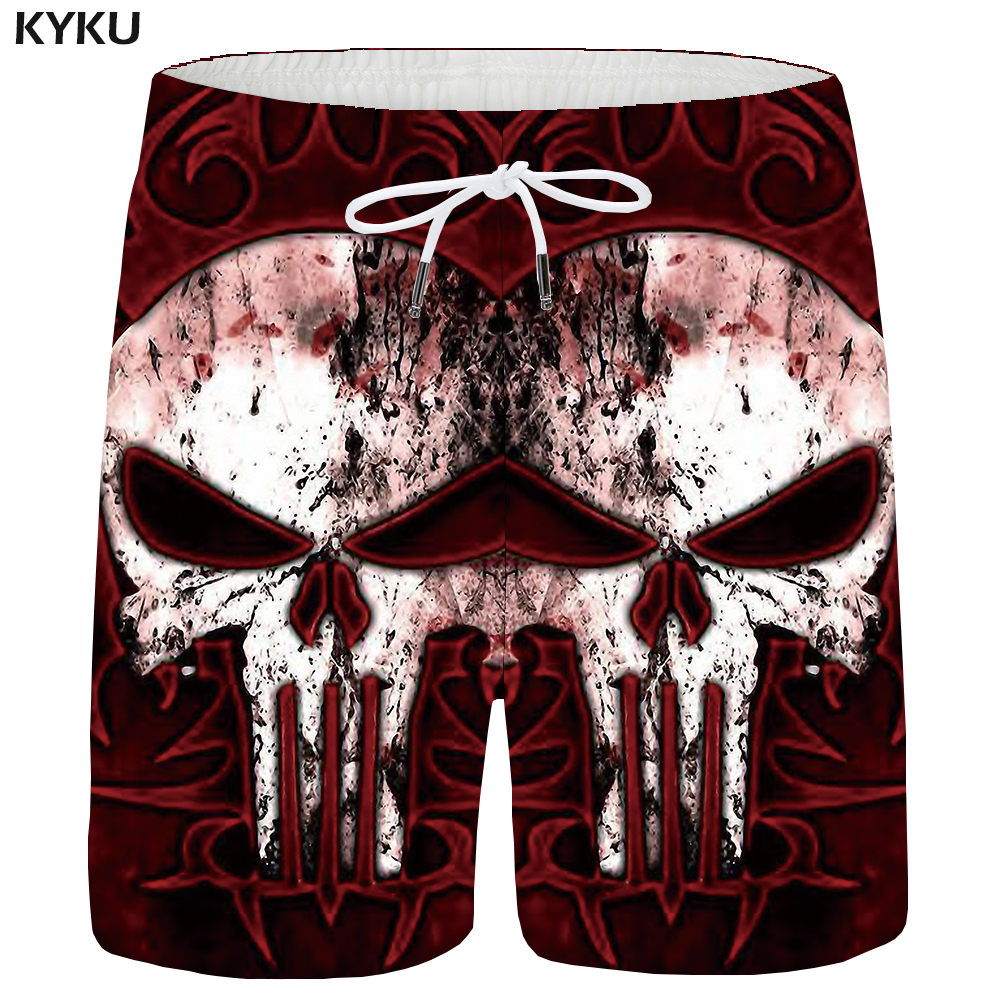 KYKU Men Shorts Skull Red Cargo Shorts Beach Harajuku Fire 3d Printed Short Pants Hawaii Cool Casual Mens Shorts New Summer Male