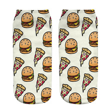 1 Pair Soft Socks Hamburger pizza Cotton Socks Creative Colorful Striped Dot Pattern Jacquard Art Casual