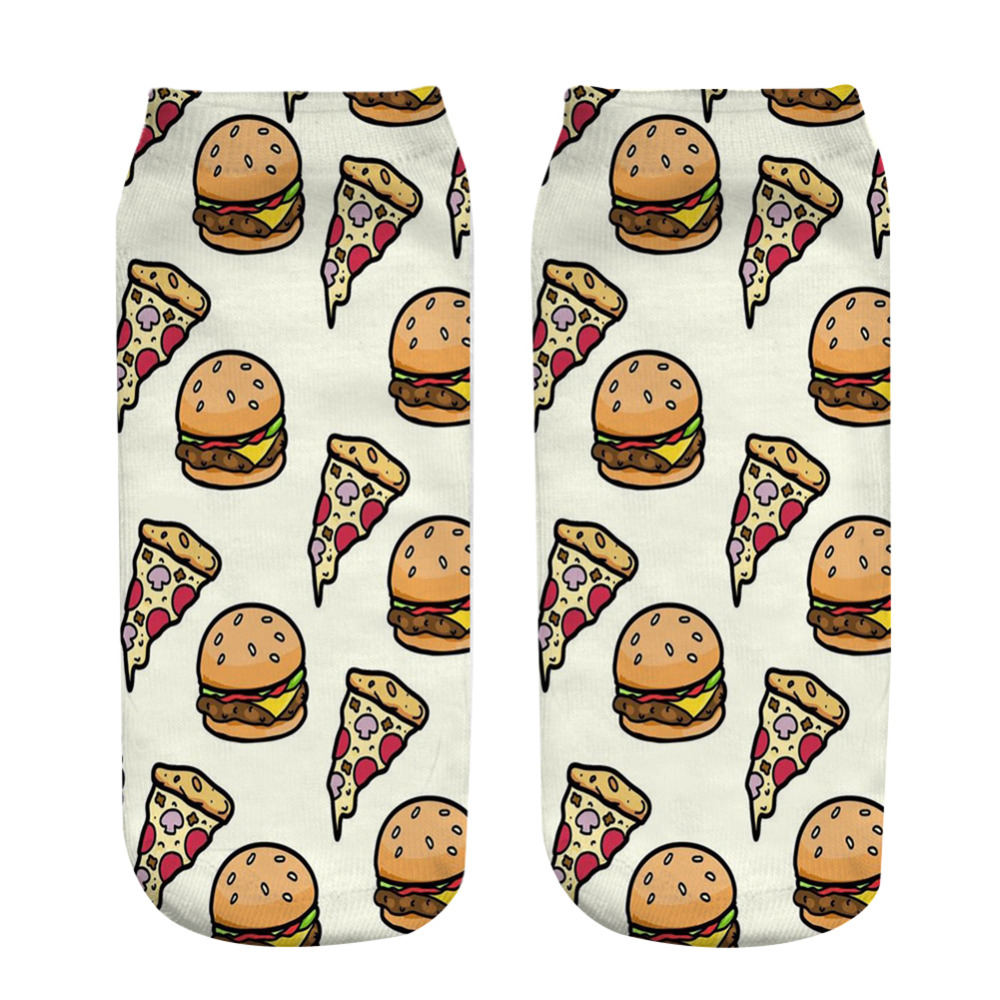 1 Pair Soft Socks Hamburger pizza Cotton Socks Creative Colorful Striped Dot Pattern Jacquard Art Casual Socks for Men 19cm