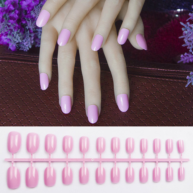 24pcs New product pink round oval fake nails short round head ...