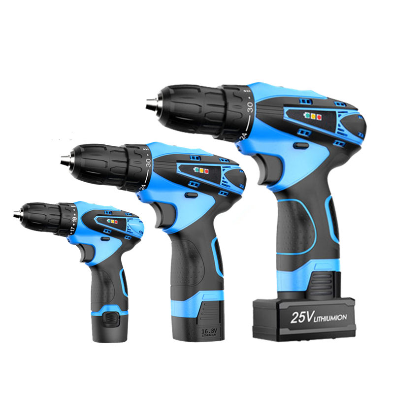 12V 16.8V 25V Electric Drill Double Speed Lithium Battery Cordless Screwdriver Household Hand Electric Screwdriver Power Tools