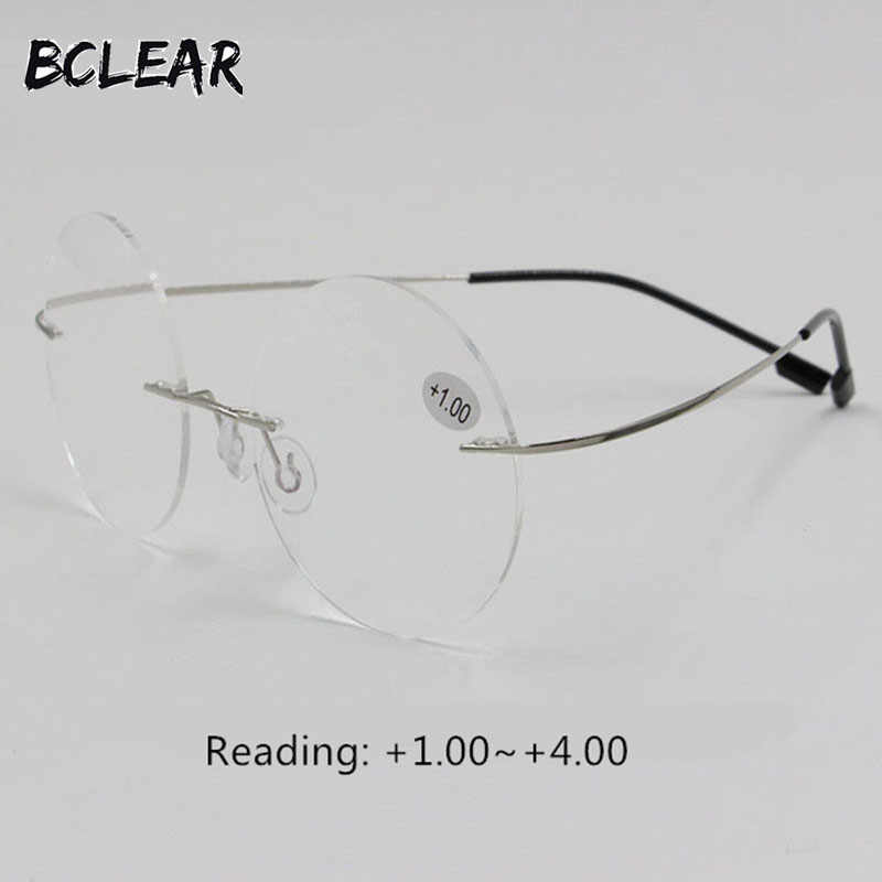 BCLEAR New arrival retro round rimless memory titanium flexible unisex eyeglasses fashion reading glasses men women +1.00~+4.00