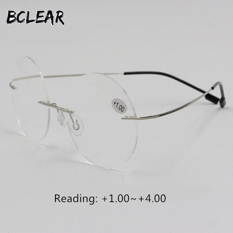 BCLEAR New arrival retro round rimless memory titanium flexible - Apparel Accessories