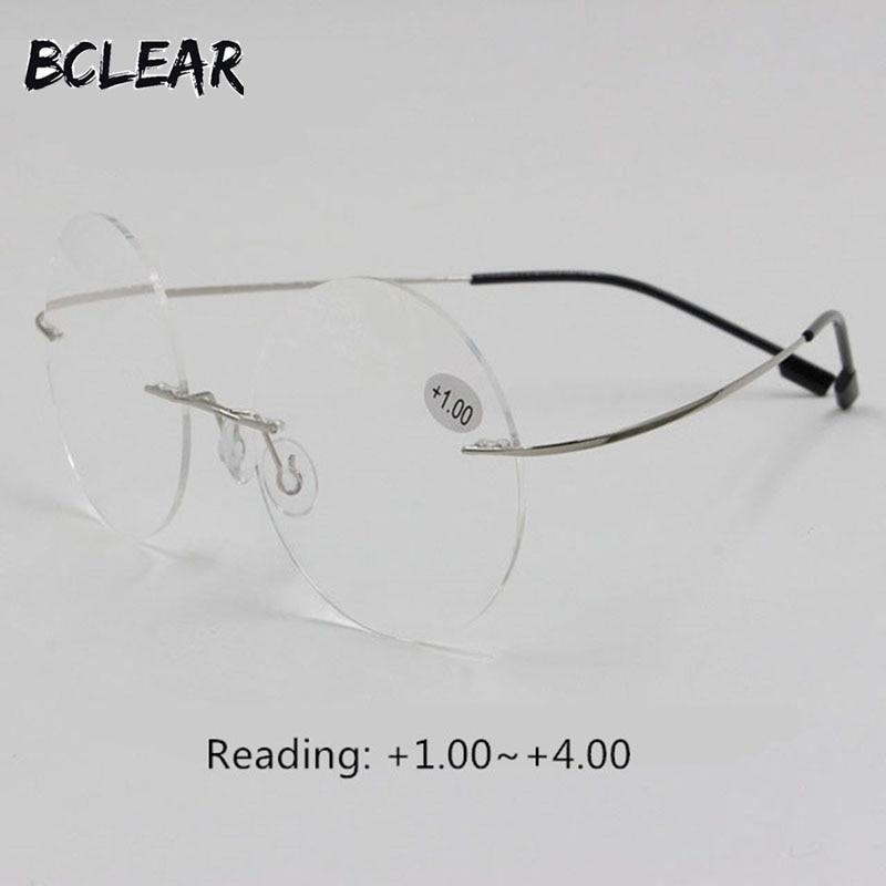 BCLEAR Yeni varış retro yuvarlak çerçevesiz bellek titanyum esnek unisex gözlük moda okuma gözlükleri erkekler kadınlar + 1.00 ~ + 4.00