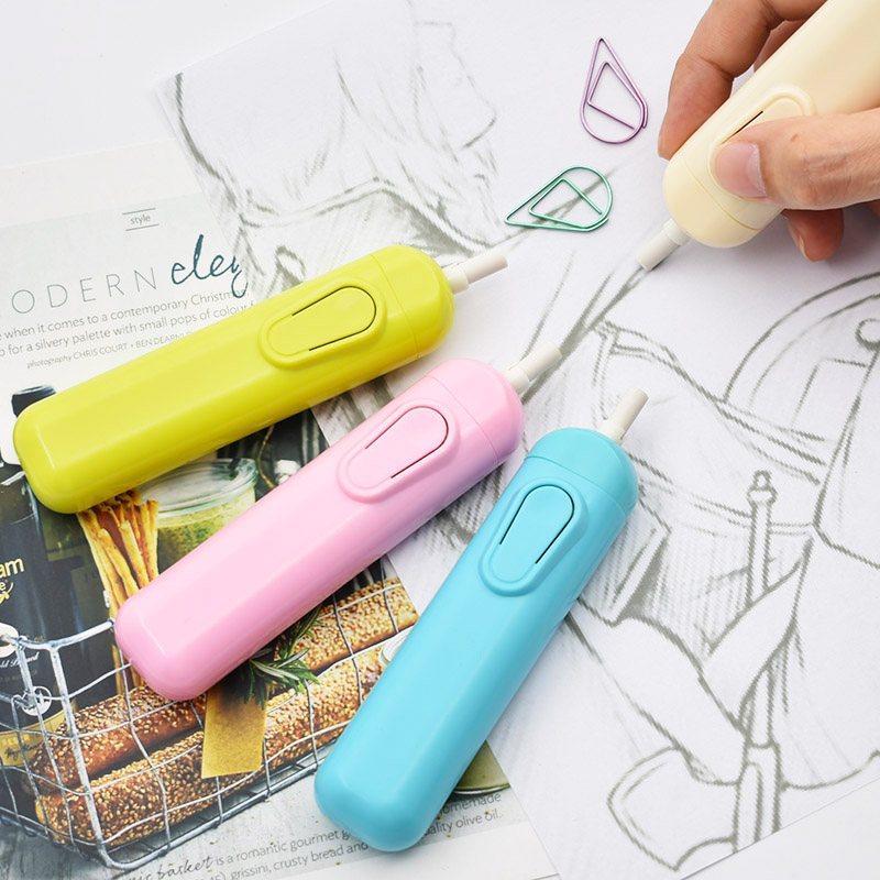 Free Shipping Creative Candy Color Electric Rubber Eraser Cute Kawaii Automatic Erasers For Pencils School Supplies 3539