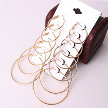 6 Pairs/Set Gold Silver Circle Earrings