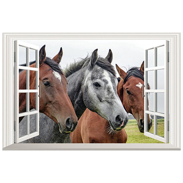 Animal 3d Fake Window Art Stickers Grasslands Scenery Horse Head Wall Decals Home Living Room Office