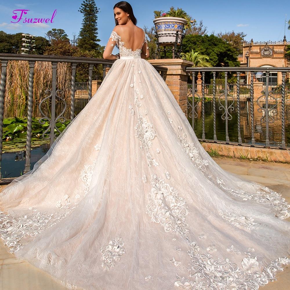 Fsuzwel Elegant Scoop Neck Backless A-Line Wedding Dress 2019 Luxury Appliques Flowers Lace Princess Bride Gown Vestido De Noiva