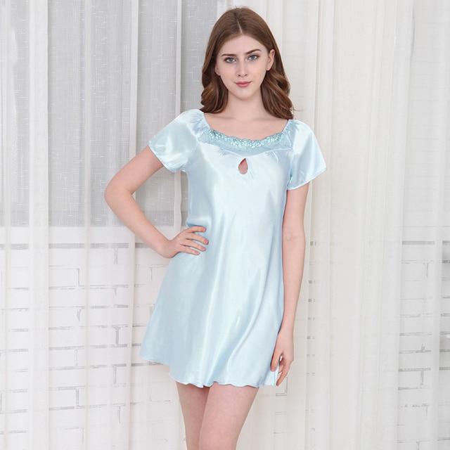 GGG Summer Women s Faux Silk Nightgown Short sleeve Sexy Night Dress Solid  Night Shirt New Lady Babydoll Sleepwear Free Shipping 68e5ec76d