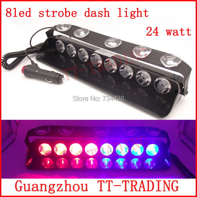 8led vehicle strobe light 24w Police strobe lights car dash board LED emergency warning lights DC12V RED BLUE WHITE AMBER 54 led emergency vehicle strobe lights bars warning deck dash grille amber white