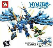 2016 new SY552 Ninjagoes Ninja Blue Jay's Flying Dragon Toy Minifigures Building Blocks Bricks Compatible with Lego bricks