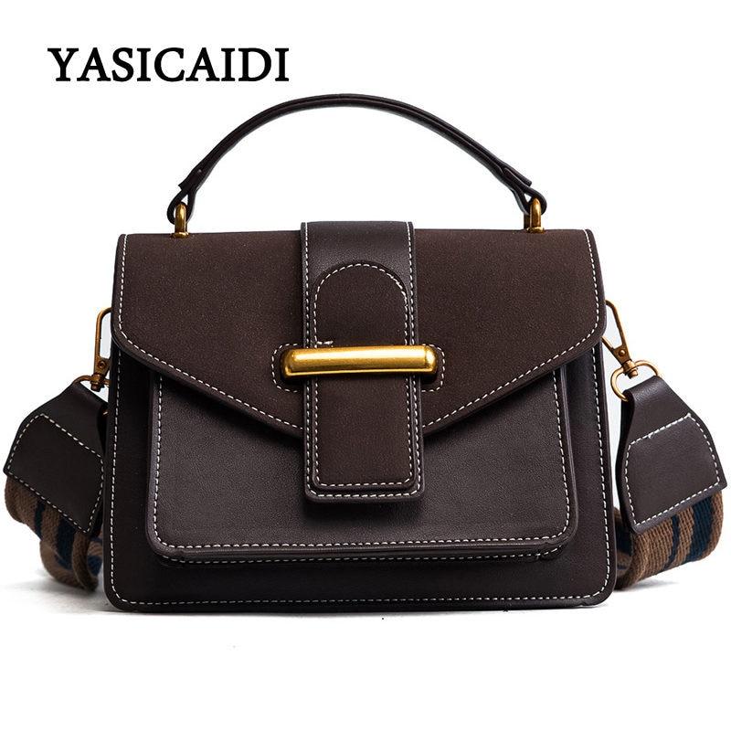 цена New Women Bags pu Leather Flap Handbags Vintage Totes Bags Female Women Handbag Bag Luxury Designer Bags Wide Shoulder Strap в интернет-магазинах