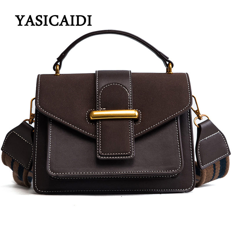 New Women Bags pu Leather Flap Handbags Vintage Totes Bags Female Women Handbag Bag Luxury Designer Bags Wide Shoulder Strap