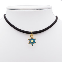 Classic Enamel Star of David Necklace for Women Metal Star of David Necklace Earrings Set Lady Jewelry Gift for Her(China)