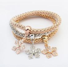 new Arrival SBY1454 fashion delicate wild temperament metal gold chain Multilayer Flower bracelets New Year Gifts Aliexpress