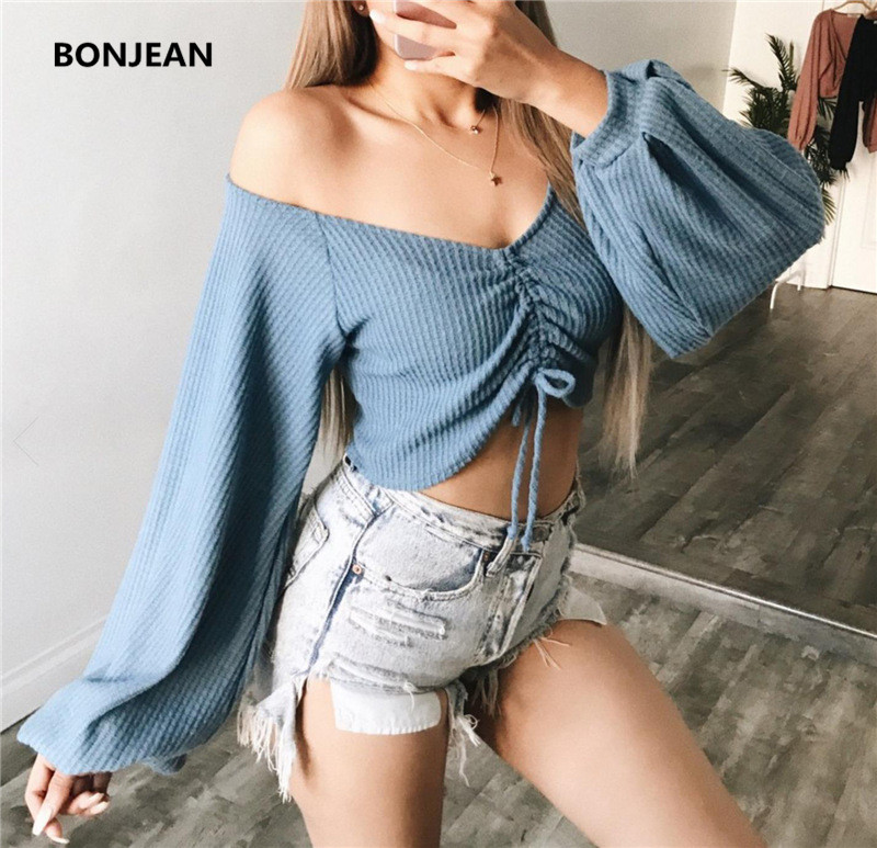 2018 Real Tumblr Camisetas Free Shipping2018 Womens Autumn And Winter New Lantern Sleeves Word Shoulder Strap T-shirt Female
