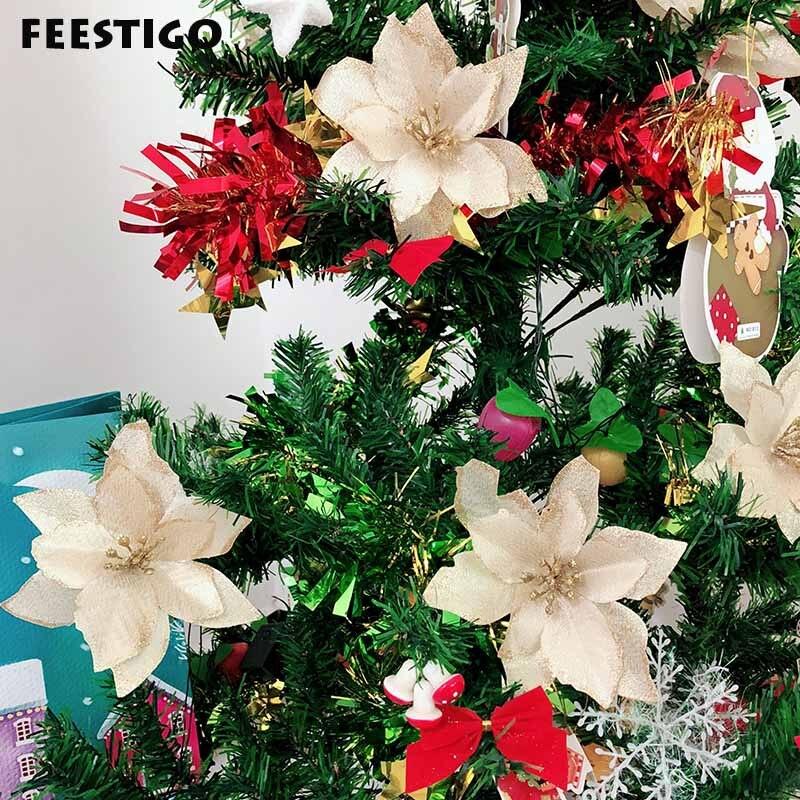 FEESTIGO 10PCS Artificial Flowers Christmas Decorations ...