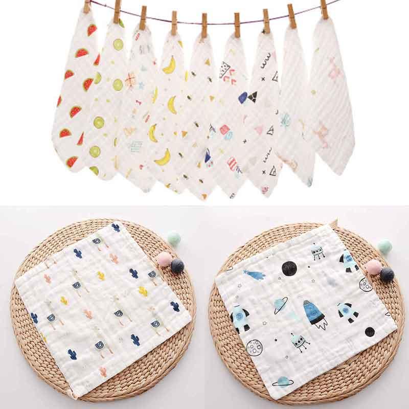 Hot Sales 4 Pcs 100% Cotton Baby Infant Towel 30*30cm Handkerchiefs 6 Layers Fabrics Cartoon Flower Print Children's Wipe Towel