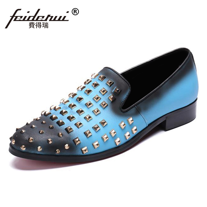 Blue Color Round Toe Slip on Man Handmade Moccasin Loafers Genuine Leather Studded Mens Comfortable Rivets Casual Shoes SL408Blue Color Round Toe Slip on Man Handmade Moccasin Loafers Genuine Leather Studded Mens Comfortable Rivets Casual Shoes SL408