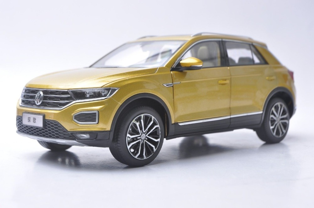 1:18 Diecast Model For Volkswagen VW T-ROC 2018 Gold SUV Alloy Toy Car Miniature Collection Gift TROC T Roc