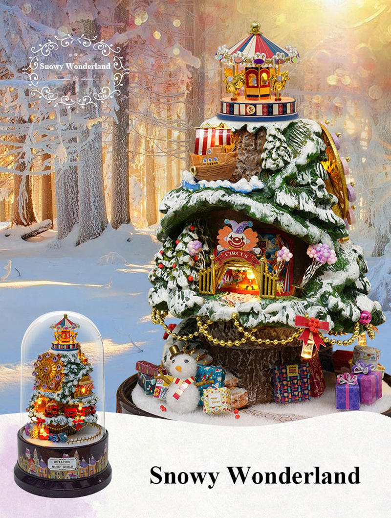 DIY Dollhouse Rotate Music Box Miniature Assemble Kits Doll House With Furnitures Wooden House Toys for Children Birthday Gift (14)
