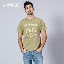 SIMWOOD 2019 t shirt men fashion snow wash vintage letter pr