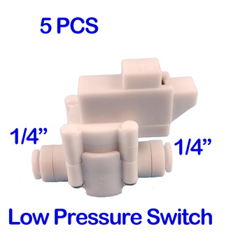 cnbtr black low pressure switch reverse osmosis tank 1 4 bsp inner thread 5PCS   1/4 inch hose connection 1/4 OD Tube Quick Fitting Reverse Osmosis Tank Low Pressure Switch For RO Water Aquarium Syste