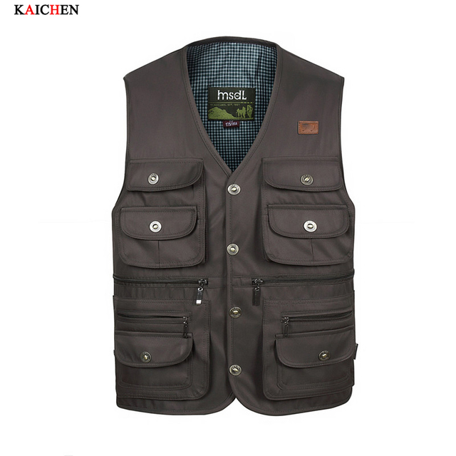 Fashion Vests For Men Wholesale Men's Multi-pocket Photography Vest Men Casual Reporter Director Military Plus Size