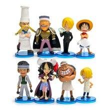 8pcs/set Anime One Piece PVC Action Figure Toys Model Sea Restaurants Scenario