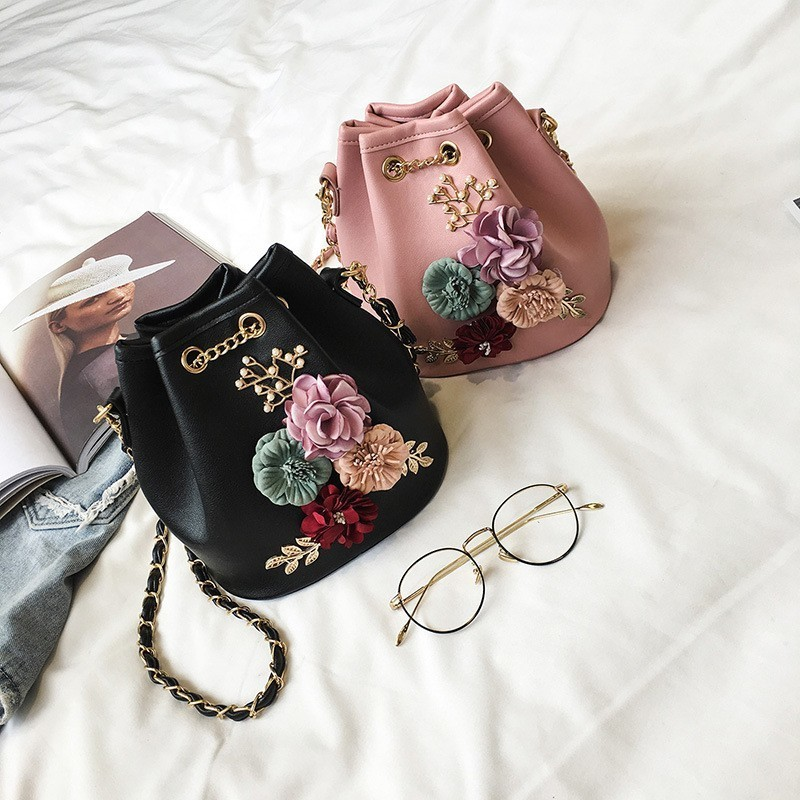 Women Bucket Bags Female Crossbody Bags Flower Appliques Design Chain String Sling Bags Mini Shoulder Bags Handbags Ladies Мешок