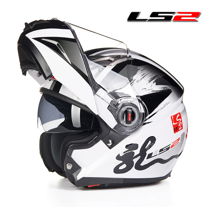 LS2 FF370 casque de moto rcycle rabattable casques intégraux modulaires avec visière intérieure noire ensoleillée double lentille casques de moto racing