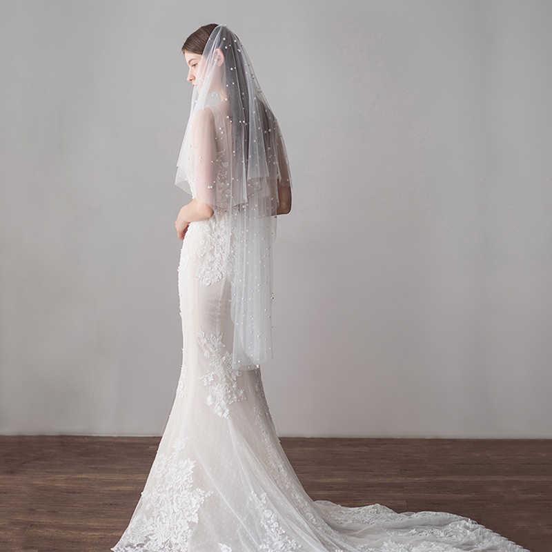 Voile Mariage 1.2M Satu Lapisan Gading Pernikahan Kerudung dengan Manik-manik Mutiara Lembut Tulle Kerudung Pengantin Pernikahan Murah Aksesoris Veu de Noiva