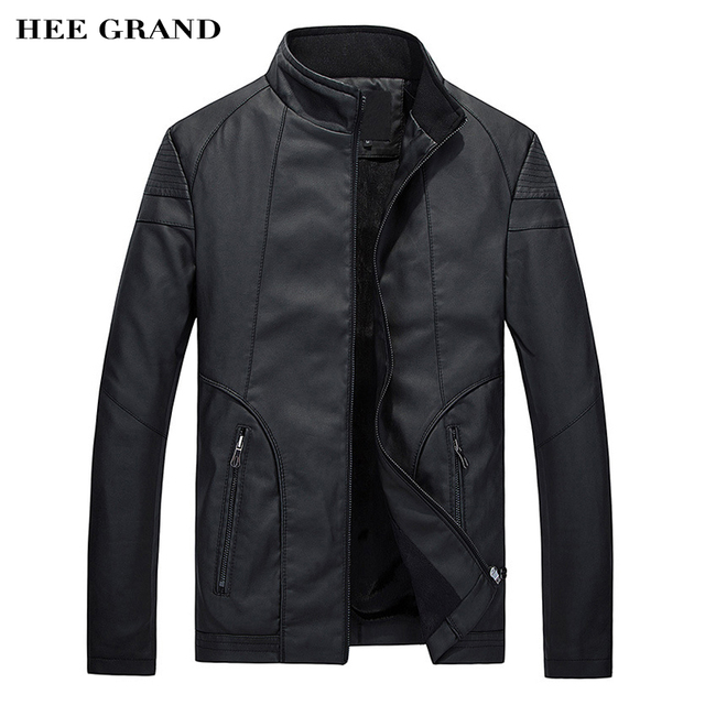 HEE GRAND Autumn Winter Fashion Men's Leathers Casual PU Leather Jacket High Quality Zipper Coat MWJ2141