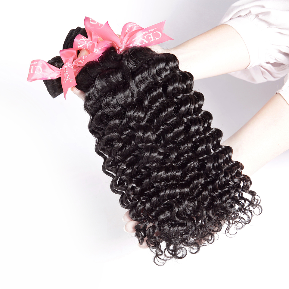 CEXXY Hair Weave Bundles Human Hair Malaysian Deep Wave Bundles With Closure 4*4 Lace Closure Virgin Hair Free Shipping