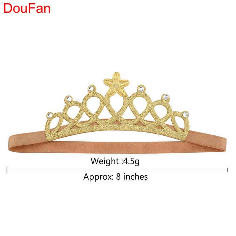 DouFan 1Pc Princess Crown Shiny Gold Silver Tiara Hairbandเด็กทารกวันเกิดตกแต่งHeadbandอุปกรณ์เสริมผม