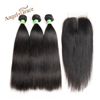 ANGEL GRACE Hair Brazilian Straight Human Hair Bundles With Closure Natural Color 3 Bundles Remy Hair
