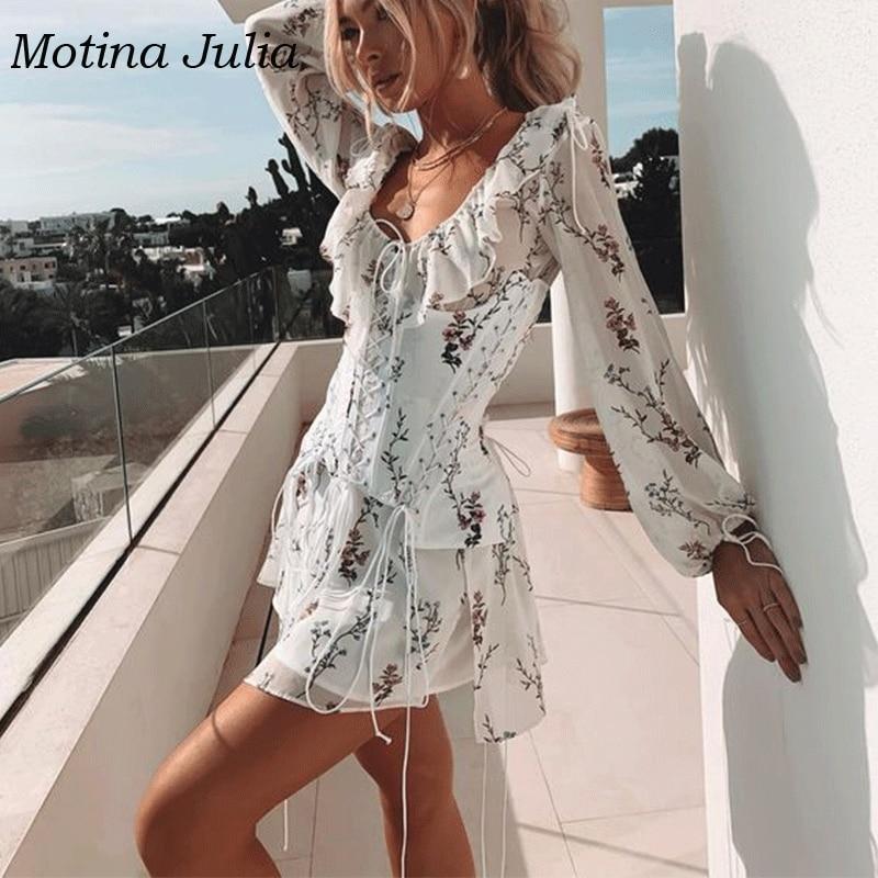 Motina Julia imprimé floral Cummerbunds robe à volants en mousseline de soie taille dentelle robe boho plage jour robe femme mini robe vestidos - 2