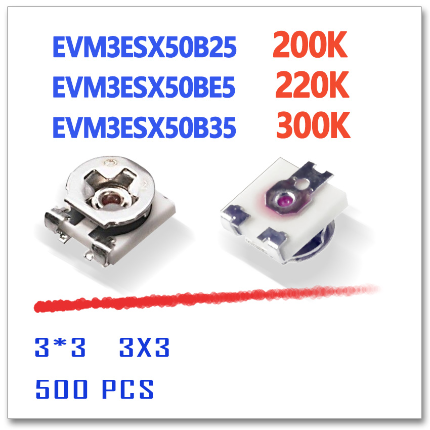 JASNPROSMA EVM3ESX50B25 200K EVM3ESX50BE5 220K EVM3ESX50B35 300K 3X3 500 stücke 3*3 smd 3mm OHM 3MM * 3MM ROHS trimmer