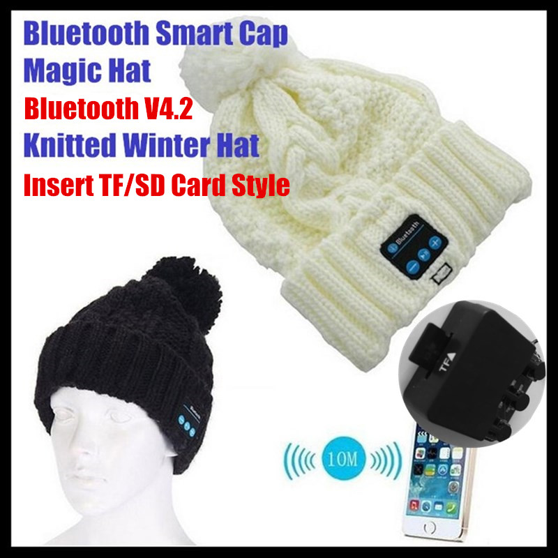 120p!Insert TF Slot Knit Beanie Smart Wireless Bluetooth V4.2 Cap Headset Headbands Headphone Speaker Mic Magic Sport Winter Hat unisex winter plicate baggy beanie knit crochet ski hat cap red