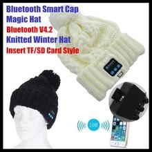 aaa6260ad46 Insert TF Slot Knit Beanie Smart Wireless Bluetooth V4.2 Cap Headset  Headbands Headphone Speaker Mic Magic Sport Winter Hat