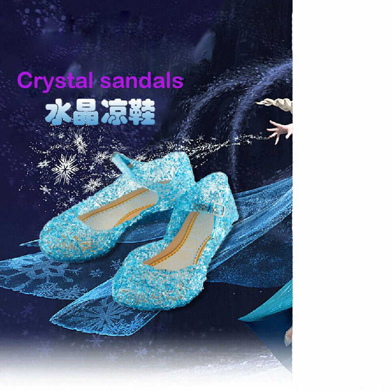 Children Girls Kids Princess Crystal Sandals Summer Frozen Jelly High Heeled Shoes Party Cute Lovely Gifts Fashion New 2019