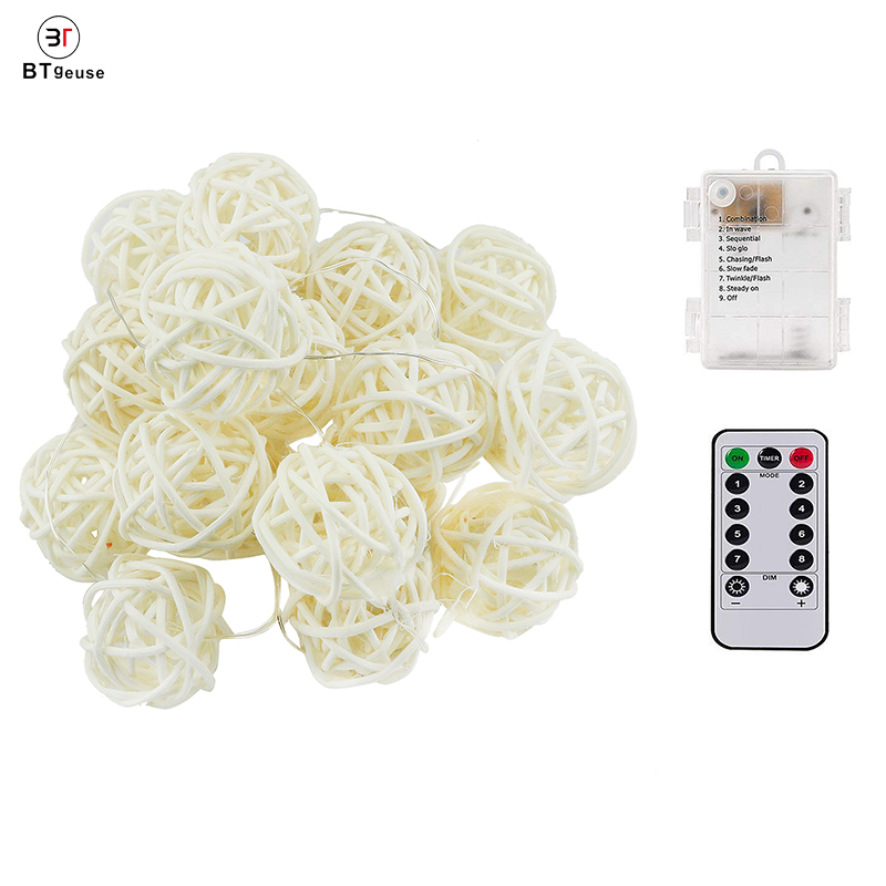 BTgeuse Rattan Ball String Lights Globe Fairy Light Battery Powered 20 LED Indoor Outdoor Colorful Light for Party Weeding Room