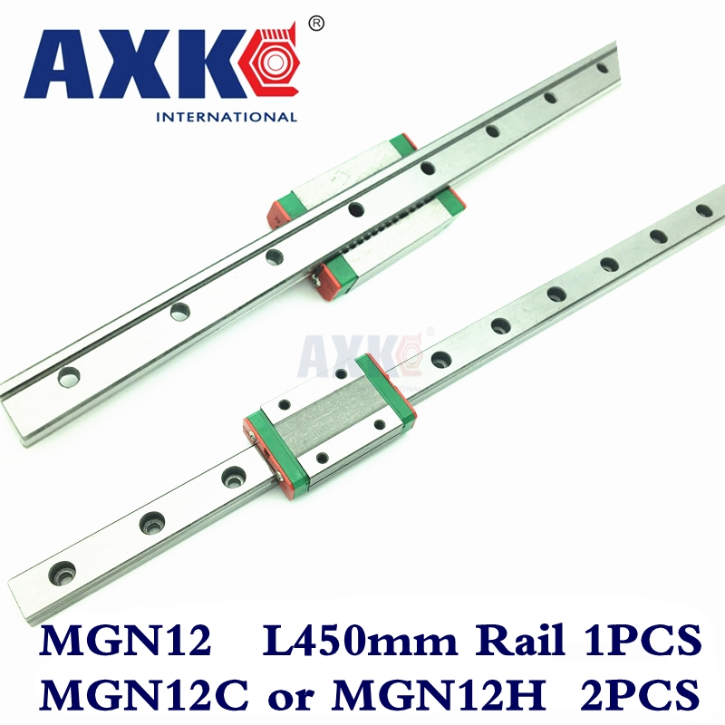 AXK Linear Rail MGN Cnc Router Parts 1pc 12mm Width 450mm Mgn12 Linear Guide Rail + 2pc Mgn Mgn12c or MGN12H Blocks Carriage Cnc axk mr12 miniature linear guide mgn12 long 400mm with a mgn12h length block for cnc parts free shipping
